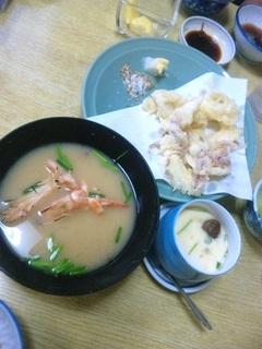 ゲソの天ぷらエビの味噌汁茶碗蒸し