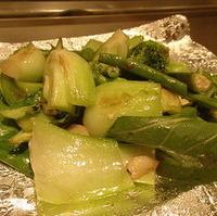 いろいろ緑野菜のごま塩焼き
