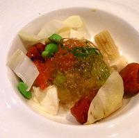 モッツァレラチーズと夏野菜のトマトじゅれ寄せ