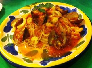 魚介類のトマトスパゲティ