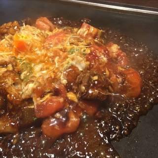 トマトのお好み焼き(牛すじ&コンニャク)