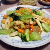 青菜と芝エビのXOソース炒め