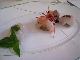 若狭湾赤甘鯛 アカザエビ 烏賊のカルパッチョ