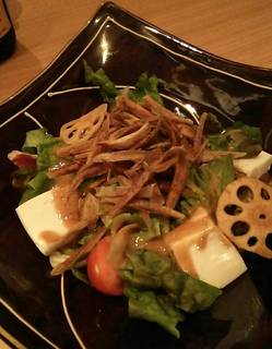 京とうふ藤野 牛蒡,蓮根,金胡麻の豆腐サラダ