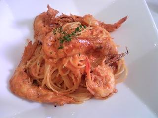 天使の海老のトマトクリームスパゲティ
