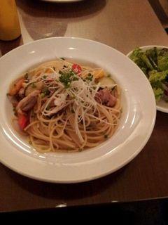 グリルチキンと季節野菜のスパゲッティ 柚子胡椒風味