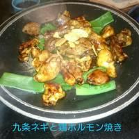 料理長のおすすめ 九条葱と鶏ホルモン焼き