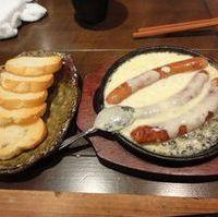 地頭鶏ソーセージの焼きチーズフォンデュ