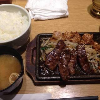 ホルモン&牛カルビ定食