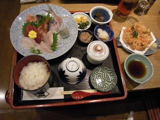 刺身定食+桜海老かき揚