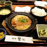 豚ロースかつの卵とじ鍋定食