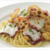 真ダコと揚げニンニクのぺペロンチーノスパゲッティ
