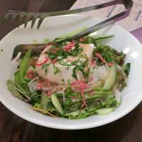 おぼろ豆腐と水菜のサラダ