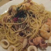 海の幸と山の幸のスパゲティー