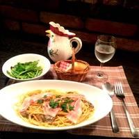 ポルチーニ茸とパンチェッタのクリームスパゲティ