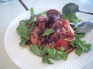 明石産タコとトマトのスパゲッティ