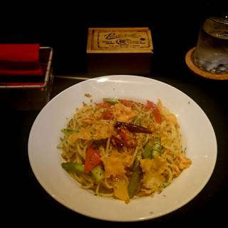 彩り野菜のペペロンチーノ