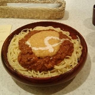ミートソースとナットウのスパゲッティ