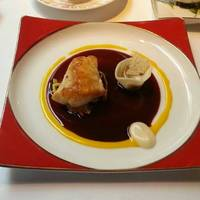 宮崎県産白サバフグのロースト スパイス風味 赤ワインソース
