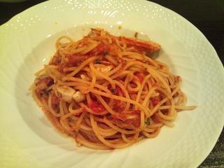ワタリガニのトマトソース スパゲッティ