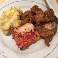 3種の前菜(唐揚げ、オムレツ、サツマイモのクリーミーサラダ)