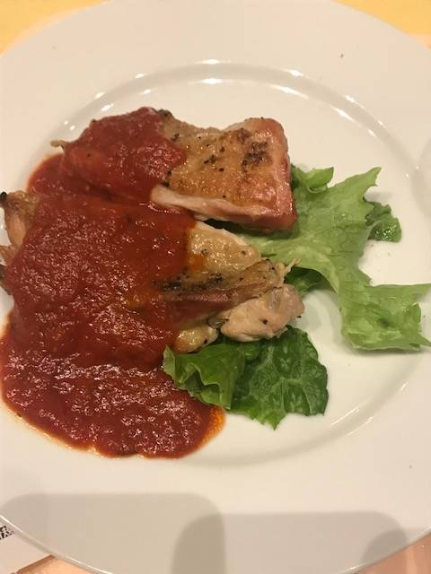 若鶏の香草パン粉焼き トマトソース