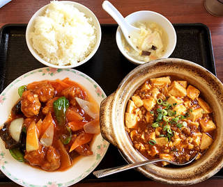 酢豚とマーボー豆腐のセット定食