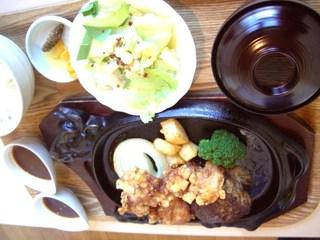 手作り和牛ハンバーグ&四国若鶏のから揚げ