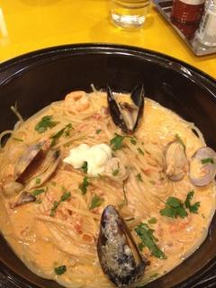 地中海風 えびとあさりのスープスパゲッティ
