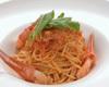 蟹とルッコラのトマトクリームパスタ