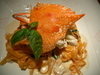渡り蟹のクリームソーストマト色フェットチーネ