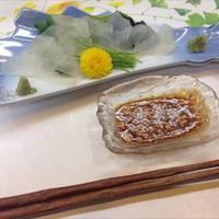 カワハギ刺身の肝醤油