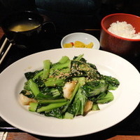 プリプリエビとシャキシャキ青菜の塩炒め