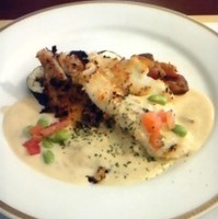 白身魚のポワレごぼう風味のクリームスープ