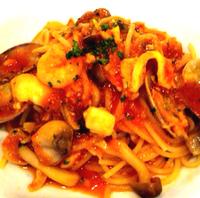 海の幸とキノコのスパゲッティ