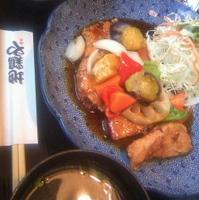 国産若鶏とたっぷり野菜の黒酢あん定食