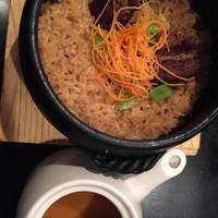 もち豚角煮の土鍋めし~和風出汁でお茶漬け風に~