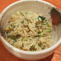 野沢菜としらすの石焼御飯