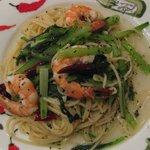 小エビと小松菜のバジルソーススパゲティ