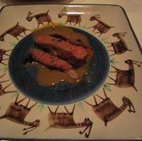 淡路牛の炭火ステーキ グリーンペッパーソース