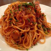 海と山の幸のトマトソースのスパゲティ