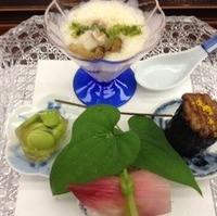冷やしとろろと茗荷寿司、枝豆寄せと茄子田楽