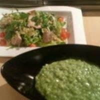 鶏肉と10品目のサラダ&バジルのリゾット
