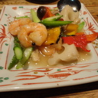 海老、根菜と彩り野菜の広東炒め