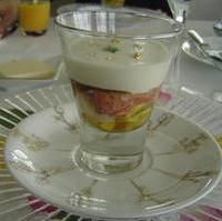 ホワイトアスパラガスのブランマンジェ オマール海老とマンゴーのジュレ寄せ