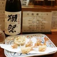 日本酒、獺祭  天ぷら、車海老、蓮根