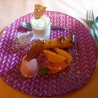 ココナッツのブランマンジェ、アプリコットのタルト、桃のソルベ