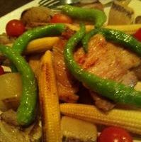 塩豚と野菜のステーキ