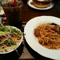 チョリソー茄子のミートソース【ドリンク、サラダ付き】