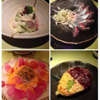 マグロとアボカドのマヨネーズあえ/秋刀魚のさしみ/大根とじゃこのサラダ/なす田楽